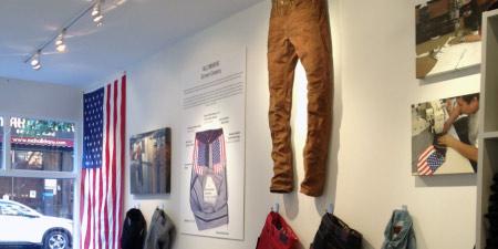 wall at williamsburg garment co denim store brooklyn ny