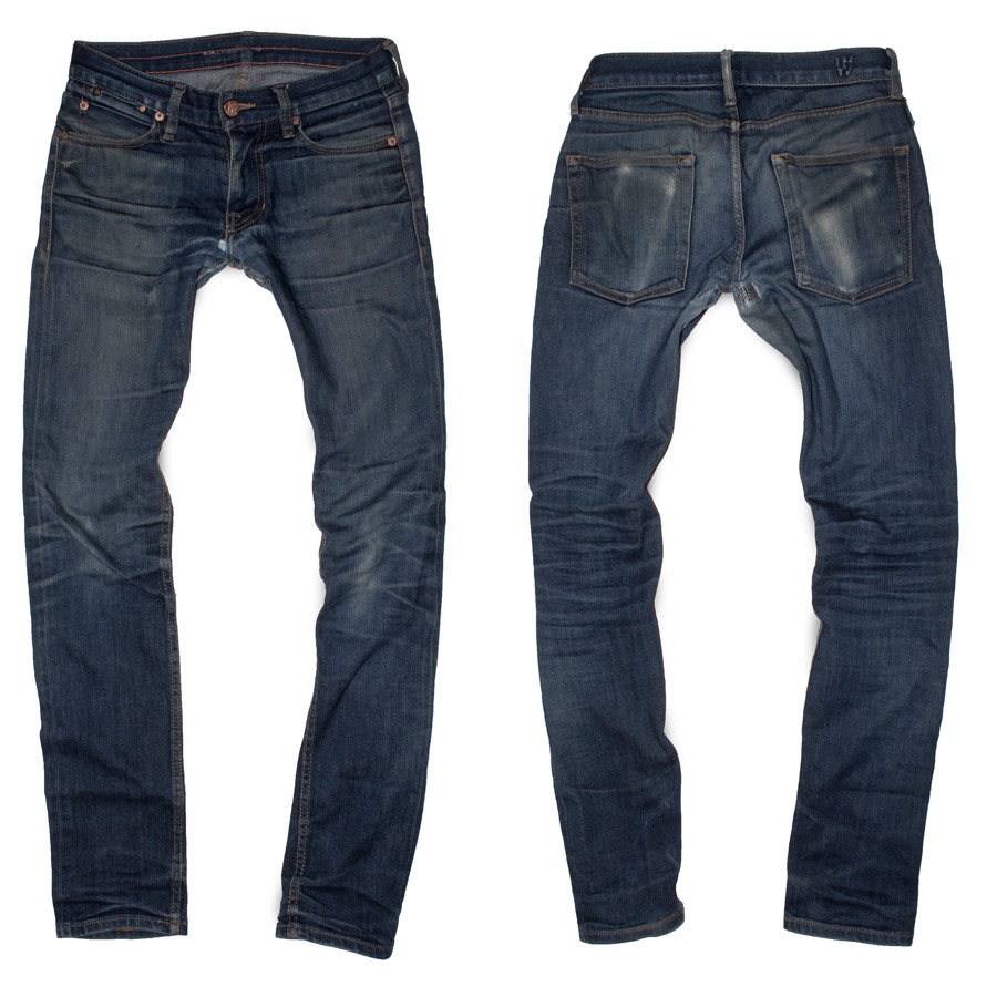 American made faded raw denim jeans in stretch selvedge