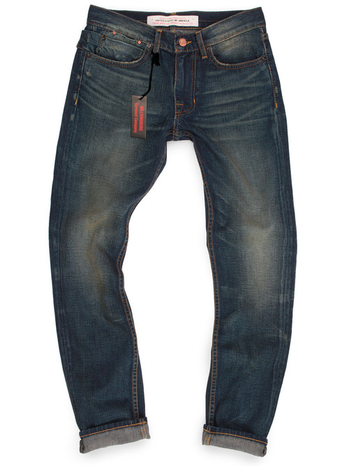 Slim fit men's dark washed jeans. Quality American made denim in antique stonewash.