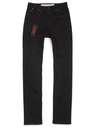 Black slim straight mid-rise American made jeans for women