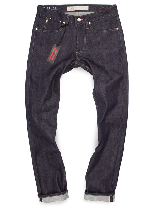 Men's American made raw denim Japanese selvedge jeans.