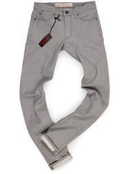 "Tall Men's Heather Gray Raw Denim Jeans made in USA with long 38"" inseam."