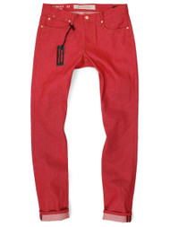 "Red Tall Men's Jeans in Japanese raw denim with long 40"" inseams. Big and Tall red slim fit jeans."