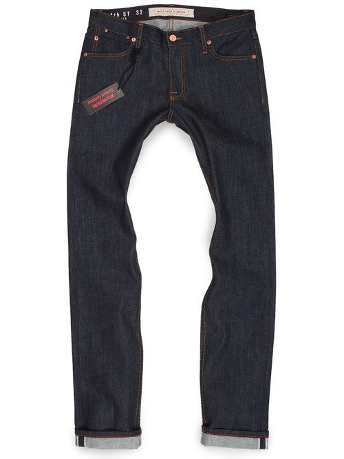 Raw denim stretch selvedge skinny jeans for men. American made jeans.
