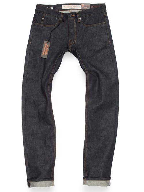 Selvedge denim American made jeans for men. Produced in 15-oz Cone Mills White Oak raw denim.