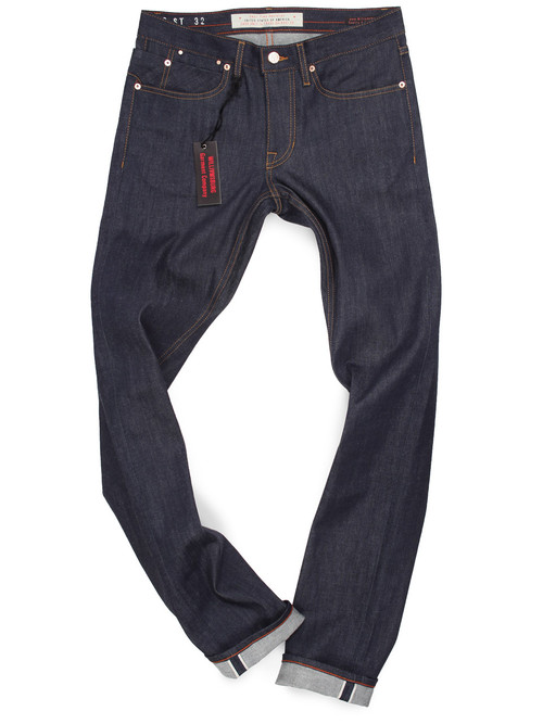 Tall Men's long 38 inseam raw denim stretch selvage jeans.