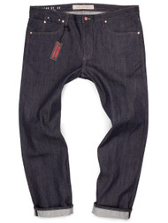 Big and Tall Japanese Selvedge Denim Made in USA Jeans.  Big mens jeans in raw denim with red-line self-edge.