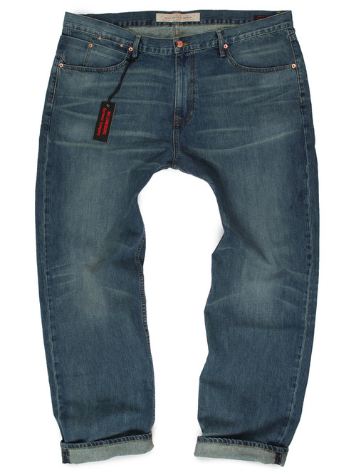 Light wash relaxed fit Big Men's Jeans made in USA. Premium quality Big and Tall Jeans.