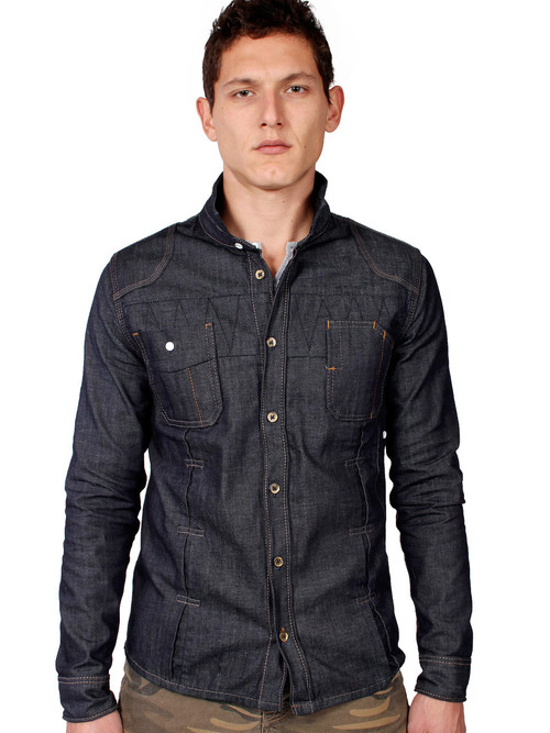 American made men's raw denim work shirt.