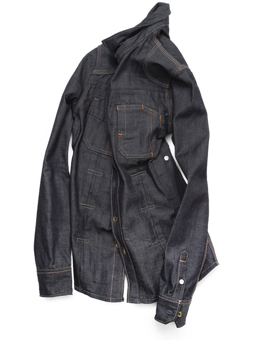 American made raw denim shirt for men.