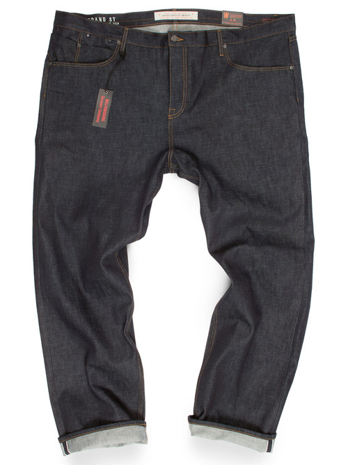 Big Mens selvedge raw denim jeans. 15 oz button fly American made jeans.