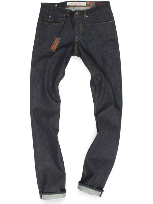 Tall Mens selvedge raw denim jeans made in USA.