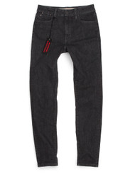 Women's black high-waisted American made jeans.
