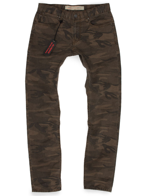 Military green slim fit camouflage pants made in USA.