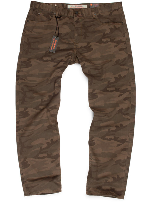 Big mens military green slim fit camouflage pants made in USA.