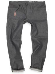 Gray Japanese selvedge denim jeans for big men made in USA.