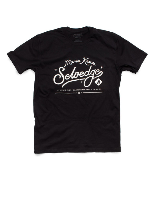 Mama Knows Selvedge Black t-shirt by American made raw denim brand Williamsburg Garment Company.