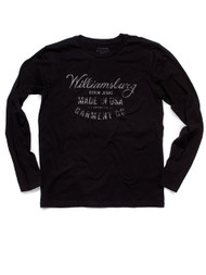 Black long sleeve Williamsburg USA Logo tee by raw denim specialist and American made denim brand Williamsburg Garment Company.