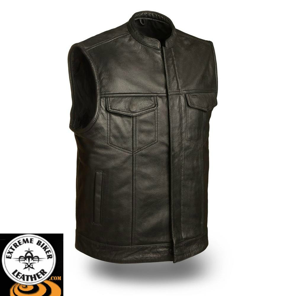 dde5bb14e FMM690BSF Blaster Gun Vest Leather Motorcycle Vest | First Manufacturing