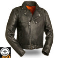 60's New Yorker FIM210NOCZ Leather Motorcycle Jacket  Black | First Manufacturing
