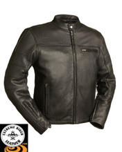 FIM255NOCZ Manchester Men's Black Leather Scooter Jacket | First Manufacturing