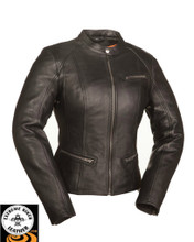 Fashionista FIL108CCBZ Ladies Scooter Leather Jacket Black | First Manufacturing