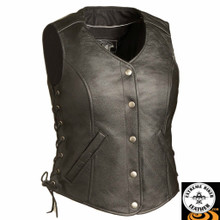 Honey Badger FIL566RCSL Ladies MC Leather Vest | First Manufacturing