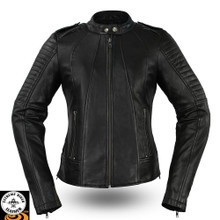 Biker FIL104SDMZ Ladies Leather Motorcycle Jacket |First Manufacturing