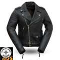 RockStar FIL182CSLZ Ladies Leather Motorcycle Jacket | First Manufacturing