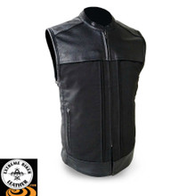 Hideout FIM646CSL Men's Leather/Textile Vest | First Manufacturing
