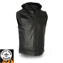 Assassin FIM687CSL Men's Leather Vest w/Hoodie | First Manufacturing