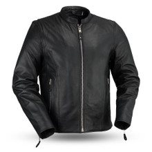 Ace - Clean Cafe Style Men's Leather Jacket FMM202FBZ | First Manufacturing