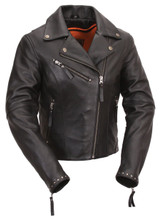 Women's Motorcycle Leather Jacket FIL159NOCZ | First Manufacturing