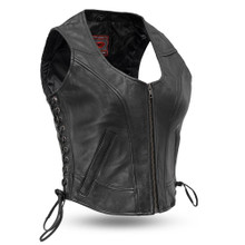 Raven - Women's Motorcycle Leather Vest FIL542GDD | First Manufacturing
