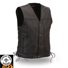 Gambler FIM618CFD Men's Single Back Panel Motorcycle Vest | First Manufacturing