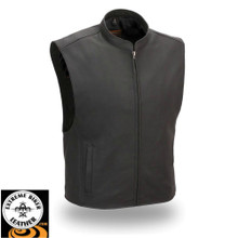 Club House FIM656CSL Men's Zip Front Club Patch Leather Motorcycle Vest