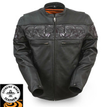 Savage Skulls FIM243CSLZ Men's Leather Jacket with Reflective Skulls |First Manufacturing
