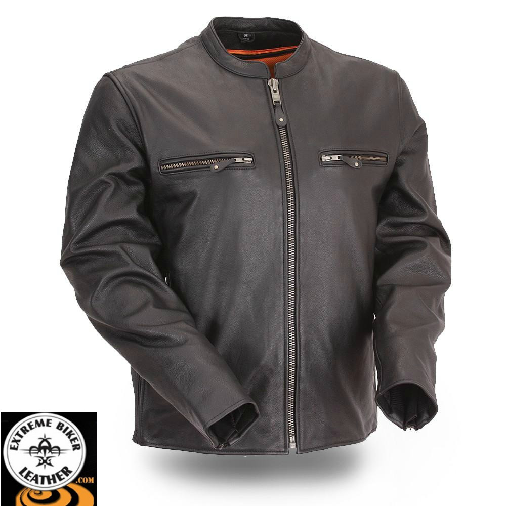 Mens Full Side Stretch Scooter Motorcycle Leather Jacket