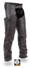 FMM830 is one of the most popular set of leather chaps. The deep pockets that go from waist to just above the knee. This FMM830 has a plain sleek modern look that appeals to all motorcycle enthusiasts. And is made from soft milled leather.  The liner is a permanent mesh liner.