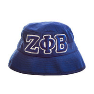 Zeta Phi Beta Sorority Three Greek Letters Floppy Mesh Bucket Hat-Blue