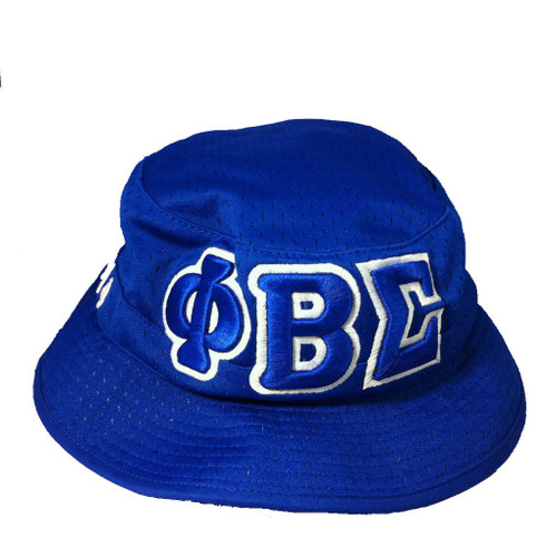 5de81d9133848 Phi Beta Sigma Fraternity Three Greek Letter Floppy Mesh Bucket Hat ...