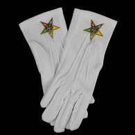 Order of the Eastern Star OES White Gloves with Symbol