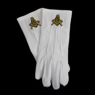 Mason Masonic Gloves with Symbol- Gold