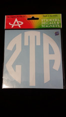 Zeta Tau Alpha ZTA Sorority Monogram Car Decal