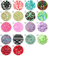 Fabric Buttons- Damask/Paisley Pattern