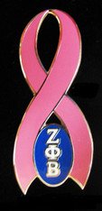 Zeta Phi Beta Sorority Breast Cancer Ribbon Lapel Pin