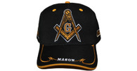 Prince Hall Mason Masonic Symbol Cap- Black/Gold