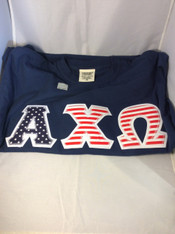 Shirt Inspiration- Sorority Double Stitched Letter Shirt- American Flag- Comfort Colors