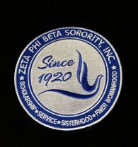 Zeta Phi Beta Sorority New Crest Iron-On Emblem/Patch- 10 Inches