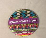 Sigma Sigma Sigma Tri-Sigma Tribal Print Button- Large